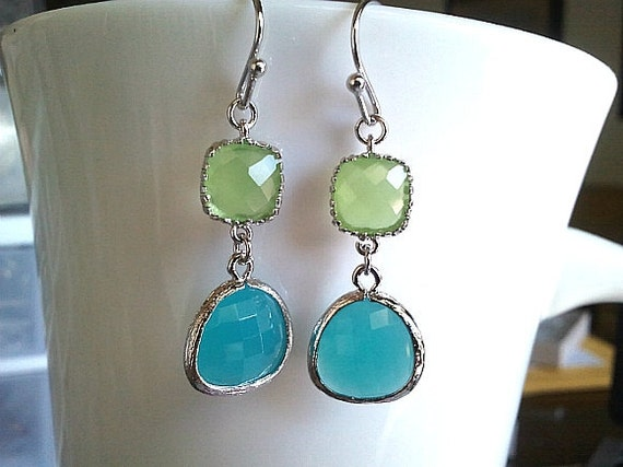 Mint Blue Silver Drop Earrings, Dangle, Glass Earrings, bridesmaid gifts,Wedding jewelry,christmas gift, cocktail jewelry