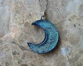 CUSTOM ORDER for AARON: Teal crescent moon pendant