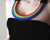 Rainbow Jewelry, Wool wrapped rainbow statement necklace, rainbow colors necklace, tribal necklace, Red, yellow, orange, green, turquoise