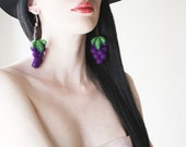 OOAK Felt Earrings, Felt Grape Earrings, Fruit Jewelry, Eco-friendly Jewelry, Wine Jewelry, Fun Jewelry, Kawaii, Viloet, Purple, Green