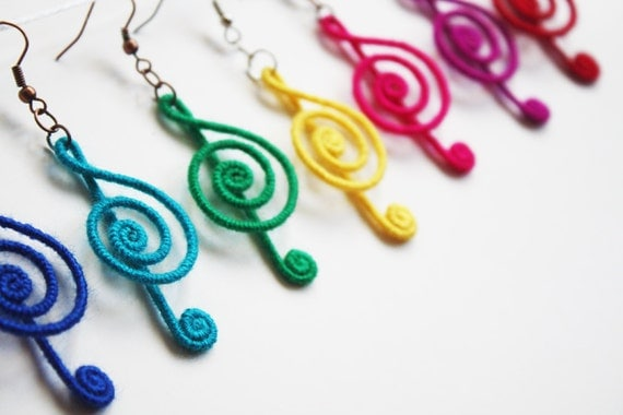 Treble Clef Earrings, Music Note Earrings, Musical Earrings, Rainbow Colors, red, pink, yellow, green, blue, navy, purple, black