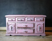 Huge Parisian Pink Jewelry Box, Vintage French Dresser, OOAK, Decoupage