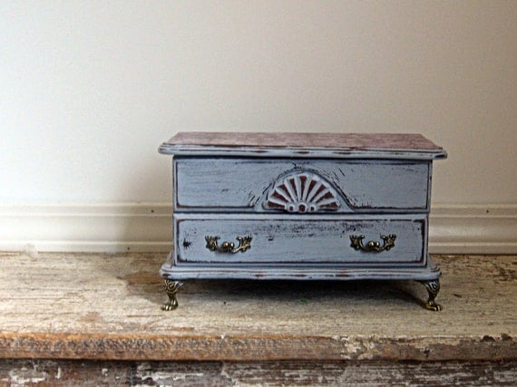 Reserved for Jessica........French Dresser Jewelry Box, Handpainted, Lavender, OOAK