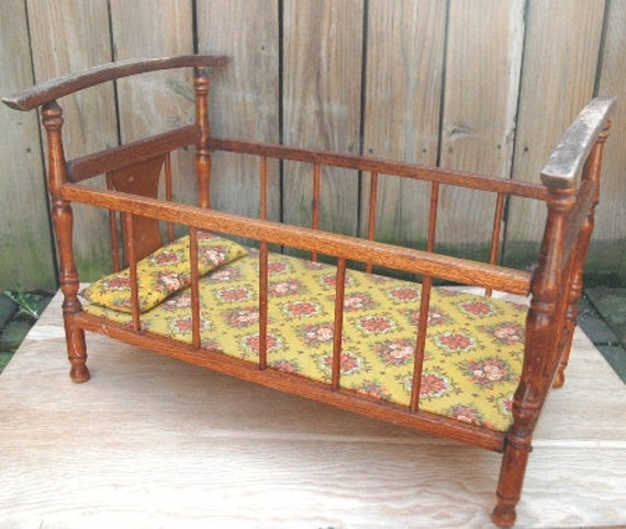 N.D. Cass Toys Doll Crib Cradle Bed Solid Wood 1960'S Vintage