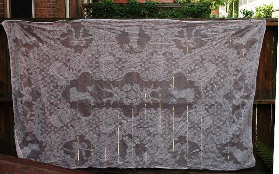Easter Tablecloth Bunny Eggs White Lace 106 x 60 Granny's Dinner Vintage