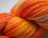 Hand dyed sock yarn - Sunset - Superwash - Blue Faced Leicester / nylon - red orange yellow