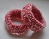 Pink Eco Felted Bracelets - beaded - natural