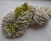 Handspun Art Yarn - Seaweed and Sand  - sequins, fringe, beads and fabric