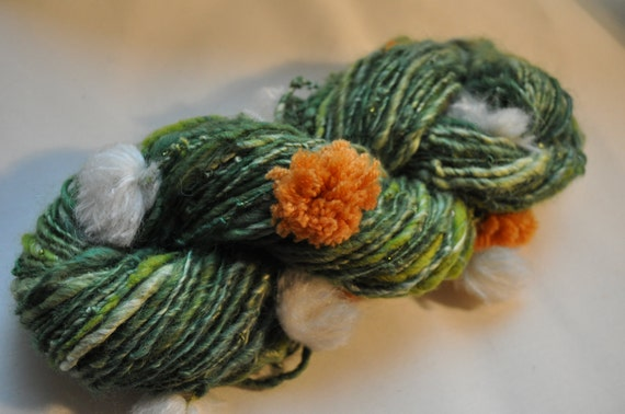 Reserved for Pat - Handspun Yarn - Green grass with Dandelions - Art Yarn