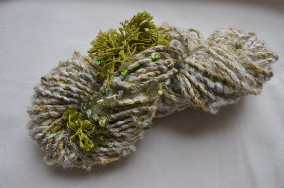 Handspun Art Yarn - Seaweed and Sand  - sequins, fringe, beads and fabric