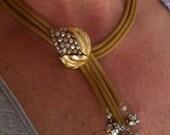 Vintage Necklace Choker DeLizza Elster Juliana Leaves Aroura Borealis Beautiful