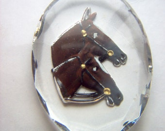 Vintage Glass Intaglio of Two Horses     # YY 1- 6
