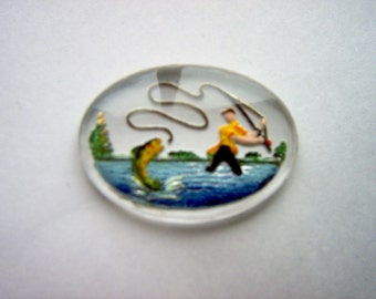 Vintage Glass Intaglio of  Man Fly Fishing   # J 5