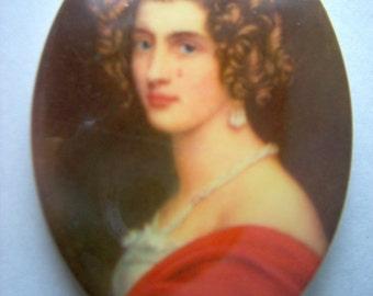 Vintage Plastic Renaissance Woman Decal Cabochon   # K 7