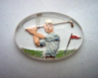 Vintage Glass Intaglio of Man Golfing      # MM 8