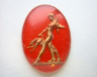 Vintage Glass Intaglio Art Deco Diana the Huntress