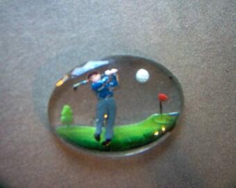 Vintage Glass Intaglio of Man Golfing    # NN 5-6