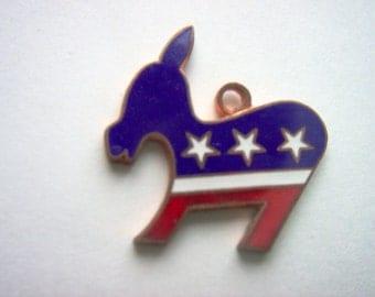 Vintage Enamel Democrat Donkey Pendant Red White and Blue    # AAA  3