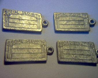 Vintage Metal Social Security Card Charms x 4  # J 7