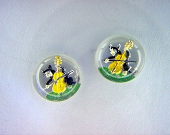 Cat with Yellow Fiddle Vintage Glass Intaglio x 2        # NN 1-2-3-4