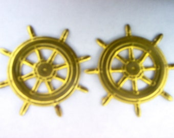 Vintage Ships Wheel Brass Finding/ Stamping x 2   # E 14