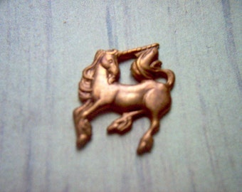 Vintage Copper Unicorn Stamping / Finding x 20