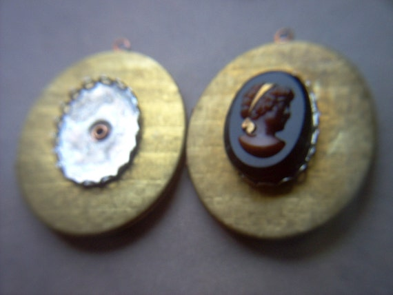 Large Vintage Oval Brass Locket with Cabochon/ Cameo Setting