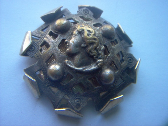 Victorian Brass Button with Man's Head Large Missing Shank For Use as Jewelry Steampunk