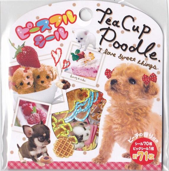 Kawaii Japan Sticker Flake Assort: Teacup Puppies - Peach Scented Stickers