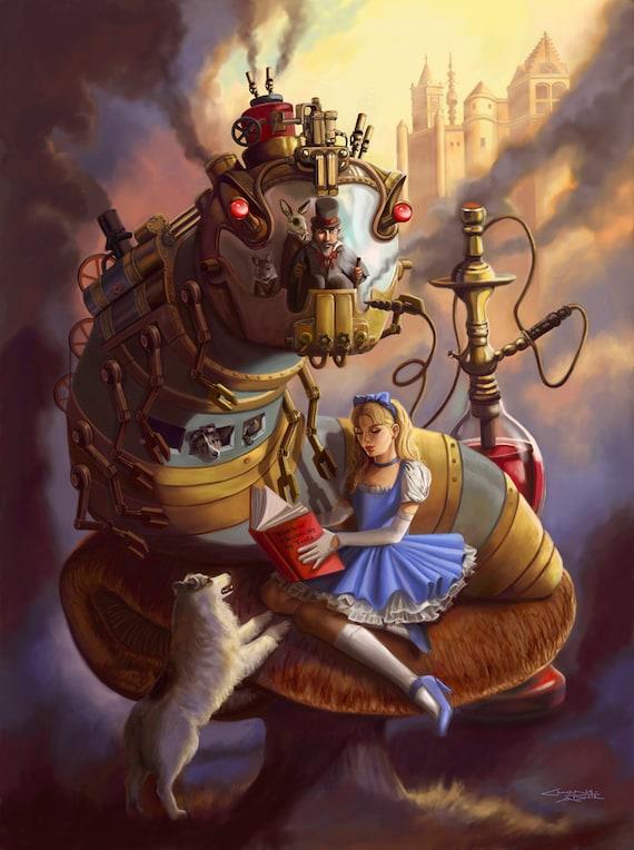 13x17 Signed Steampunk Alice in Wonderland Print