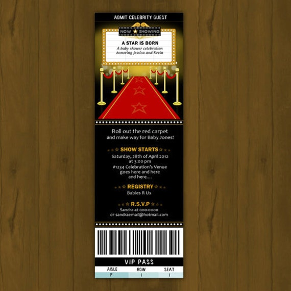Hollywood BABY SHOWER Invitation A Star Is By