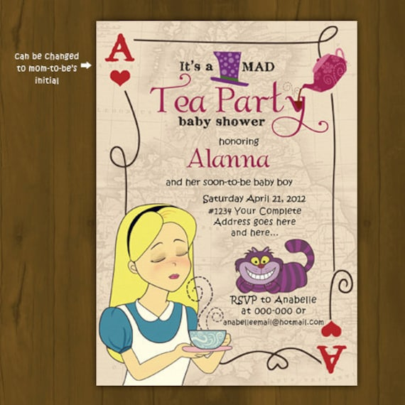 baby shower invitation alice in wonderland mad hatter tea party baby