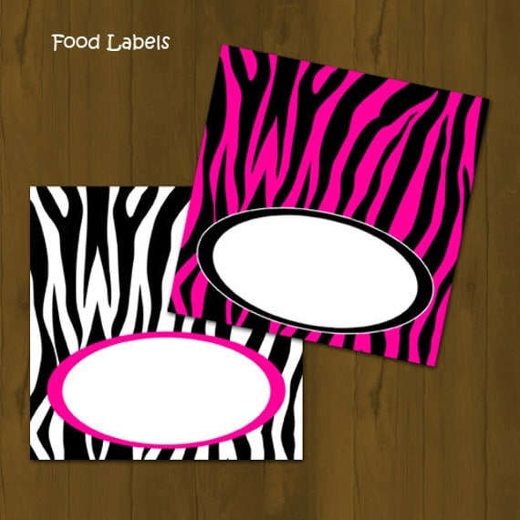 and Zebra Food Labels - Zebra Stripes and Pink Printable Food Labels ...