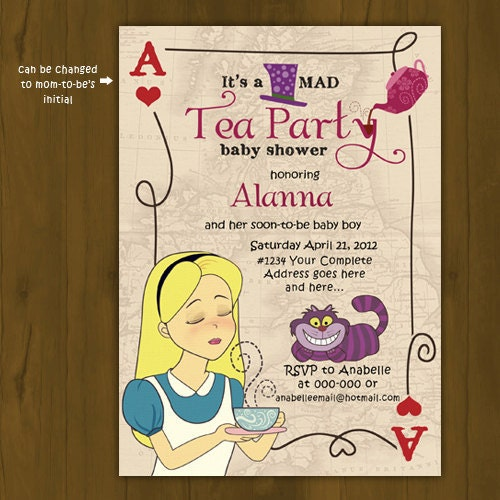 tea party baby shower invitation alice in by splashboxprintables