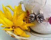 Silver Druzy Hoop Earrings
