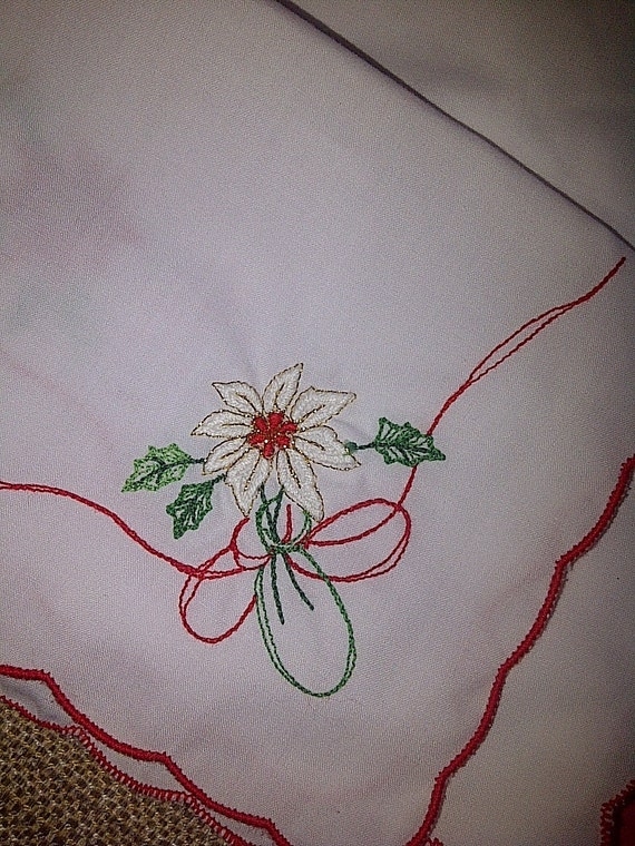 Christmas Poinsettia Doilies Embroidered on Linen