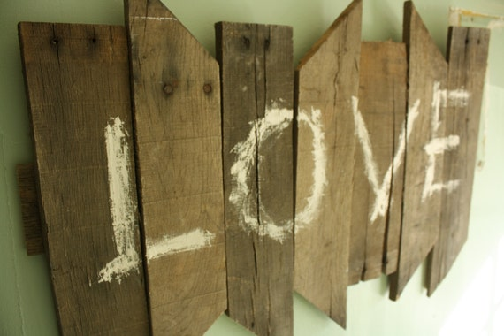 Rustic (abstract LOVE) sign
