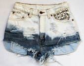 ombre bleach / Levi's vintage denim / pyramid studs & destroyed / high waisted shorts