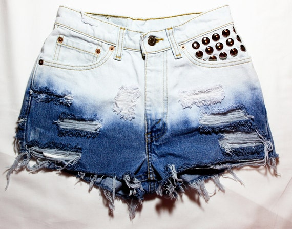 bleach ombre / Levi's vintage denim / dome studs & destroyed / high waisted shorts