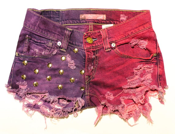 hot pink and purple / Levi's vintage denim / dome studs & destroyed / low rise shorts
