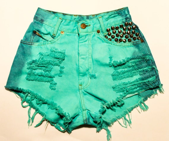 bright aqua-green / vintage denim / conical studs & destroyed / high waisted shorts