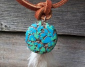 Poly clay turquoise-suede-feathers necklace