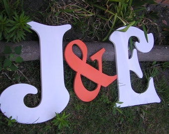 "Wedding Guest Book Alternative (2) 24"" Wood Letters And an 18"" Ampersand. Choose Font and Color ABCDEFGHIJKLMNOPQRSTUVWXYZ"