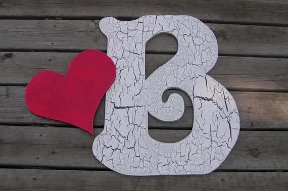 Large 2 Feet Tall Wood Letter And A Heart.  Wedding wood letter for your first initials (A - Z) plus the Heart