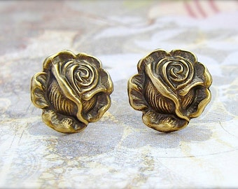 Antique Brass Rose post earrings