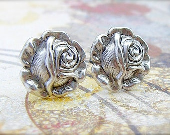 Antique Silver Rose post earrings