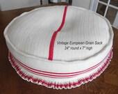 Red Vintage Grain Sack Dog Bed