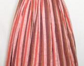 Vtg 50s Ardee Sportswear Striped Chambray Swing Skirt XS Pink/Coral/Burgundy