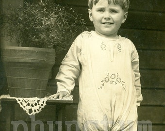 Little Gardener Boy with Toy Wheelbarrow RPPC Vintage Real Photo Postcard