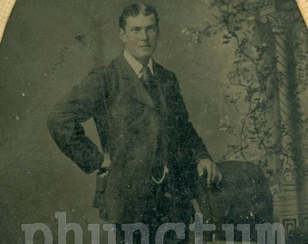 Antique Tintype Photo: Handsome Victorian Man with Watch Chain